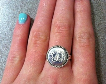 Sterling Silver Nautical Rope Monogrammed Ring