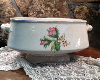 Vintage Antique Tureen/Bowl with Floral Decoration - Ironstone Type