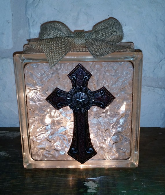 Decorative glass block light red western cross for Designer glass block