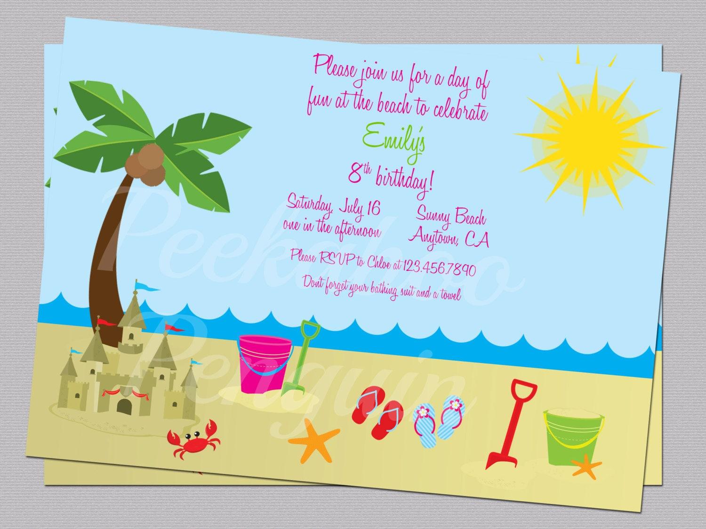 Beach Invitations Ocean Birthday Party Invites Kids – Ocean Party Invitations