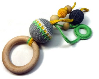 Teething toy / Developing toy / Crochet teether / Eco teether/Wooden toy  / Baby gift / Cotton yarn / Wooden beads / Wooden ring / 1 pcs