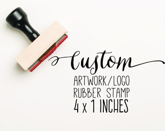 CUSTOM 4 x 1 inch Stamp,  Logo Stamp, Custom Artwork Stamp, Stamp Logo, Company Stamp, Business Stamp, Business Card Stamp