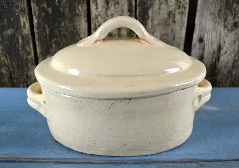 vintage french primative terracotta terrine casserole rustic. Black Bedroom Furniture Sets. Home Design Ideas