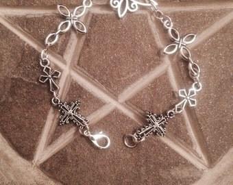7 1/2 inch tibetan silver cross bracelet.