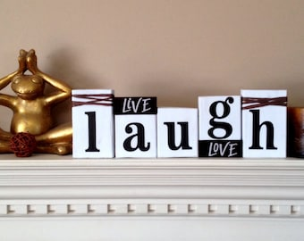 LIVE LAUGH LOVE wood word stacking block set for home and office decor...