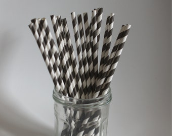 Set of 25 Black Striped paper Straws