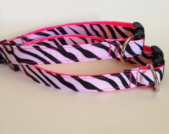 Hot Pink Zebra Dog Collar, Animal Print Collar, 5/8 Inch, Adjustable Dog Collar, Girly Collar, Zebra Dog Collar, Animal Print Dog, Zebra