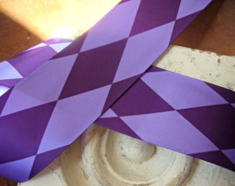 Purple and Lavender Satin Diamond Harlequin Ribbon