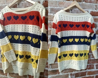 Women's Vintage/Retro Oversized Boyfriend Sweater, Hi-lo Hem and Three Quarter Sleeves with Heart Pattern in Cream, Red, Navy & Yellow.