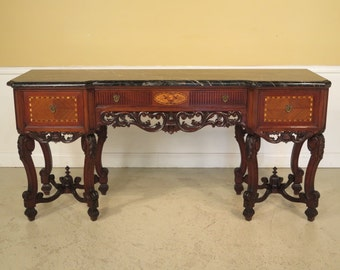 23316E: Antique Marble Top Inlaid Walnut French Carved Sideboard