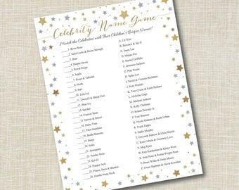 Baby Shower Celebrity Name Game, DIY Printable Baby Shower, Printable Invitations, DIY, Yellowdotpaper