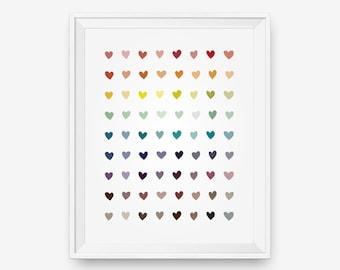 Colorful Heart Art, Love art, Children wall art, Nursery wall decor -  Digital Download - Printable Art