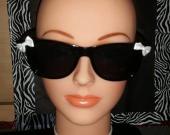 SALE.  White Bow Black Cute Geek Sunglasses