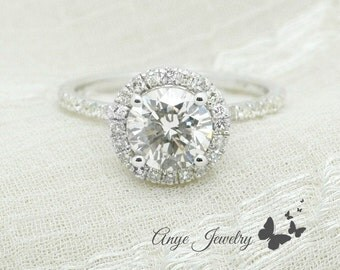 EGL USA Certified 1.25 Ct. Round Cut Halo Diamond Engagement Ring on 14K White Gold