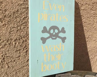 Kids Bathroom Sign   Pirate Bathroom Sign   Nautical Bathroom Wood Sign    Boys Bathroom Sign
