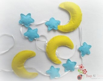 free shipping felt blue mini stars yellow moon banner garland