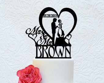 Wedding Cake Topper Mr and Mrs Personalize Last Name and Date (A 102)