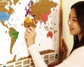 Grattez la carte du monde - personnalisé voyage monde carte affiche
