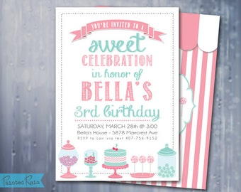 Candy Shoppe Invitation - Candy Shop Birthday Invitation, Customizable, Printable JPG File