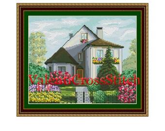 House Cross Stitch Pattern,village pattern,Сottage Cross Stitch Pattern,Counted Cross stitch