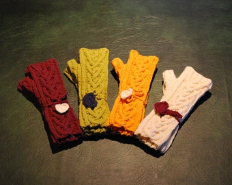 Hand Knitted Fingerless mittens in Shropshire wool