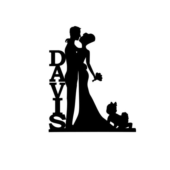 Personalized Bride And Groom Silhouette Wedding Cake Topper