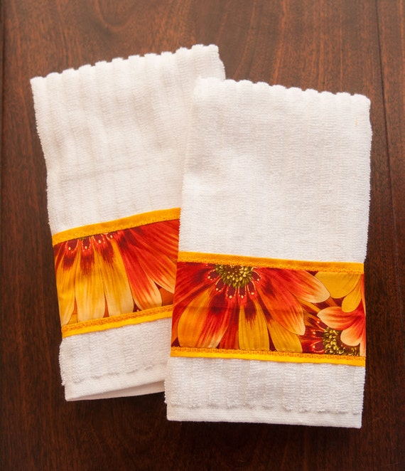 Red Kitchen Hand Towels: Kitchen Towel Set Of Two White With Yellow Orange & Red
