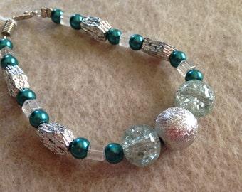 Sparkly aqua and silver bracelet