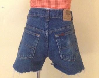 80s Vintage Gap Dark Blue Denim Cuttoff Shorts