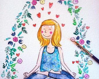 Liebe Yoga Meditation stellt, Blume, Aquarell,