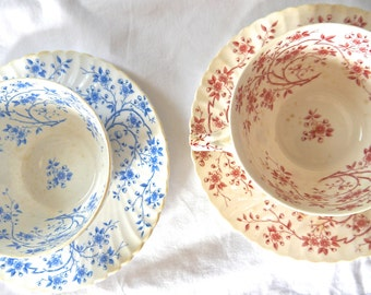 Pair of French Sarreguemines porcelain Tea cups from 1800's