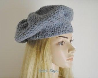 Blue effect Cap tweed crochet handmade.