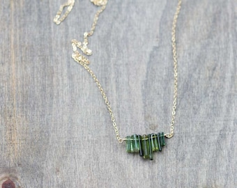Green Tourmaline Crystal Necklace on Sterling Silver or Gold Filled Chain, Delicate Natural Polished Green Gemstone Bar Necklace