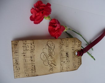 10 Handmade Birdcage Music Thank You gift tags for  Wedding bridal shower Favour wishing tree