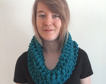 SALE Chunky Knitted Scarf Cowl Teal - Madison Cowl