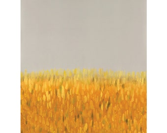 Yellow and gray art, modern landscape painting, gray abstract landscape painting 8 x 10 - available in different sizes
