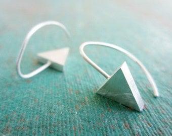 Silver Arrow Hoop Earrings - Triangle Dangle Earrings - Sterling Geometric Hoops