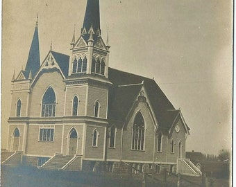 North Prairie Church, Arendahl,  Minnesota, Unused Circa 1908, Antique Real Photo Postcard