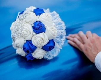 Bridal bouquet, handmade, color Blue, Ivory