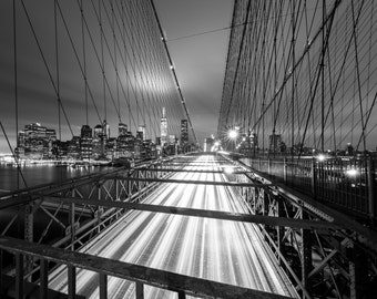 New York City Photography, Brooklyn Bridge Light Trails, Long Exposure Night Photography, NYC Bridges, NYC Large Photo Print