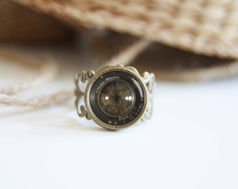 Old camera lens image adjustable ring, antique silver or antique bronze, photographers gift