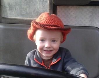 Crochet cowboy hat, toddler cowboy hat, baby cowboy hat