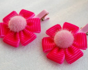 Pair of Hot Pink Flower Hair Bow Clips