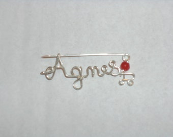 first name jewelry silver brooches adorned with beads, crystal.. .couleurs to choose... symbols...