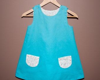 Reversible Girls Dress- Blue Sky