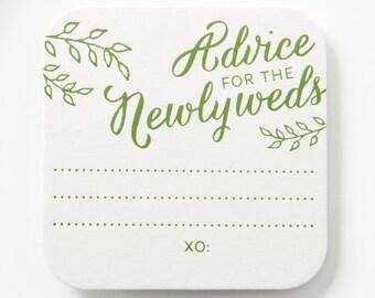 ADVICE for the NEWLYWEDS w/ Leaves Coasters – Wedding Coasters, Wedding Advice Cards, Wedding Game, Reception Decoration, Wedding Decoration