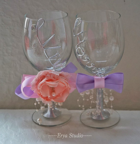 personalized wedding glasses custom wedding wine glasses name wired