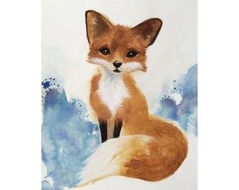 Watercolor Fox Art, Nursery Art, Kids Art, Woodland Painting, Original Illustration, Wildlife Art