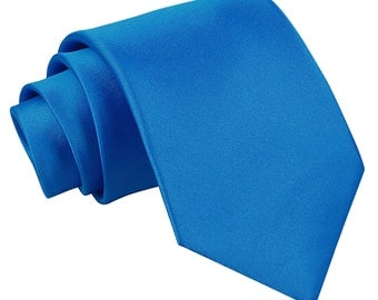 Satin Electric Blue Extra Long Tie