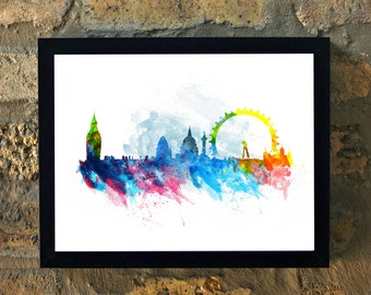 LONDON skyline Water Color Print Wall Art House Warming Decor